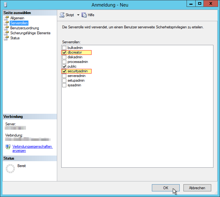 SSMS - SQL Server Management Studio 2012 - Anmeldung - Neu - Serverrollen - dbcreator - securityadmin