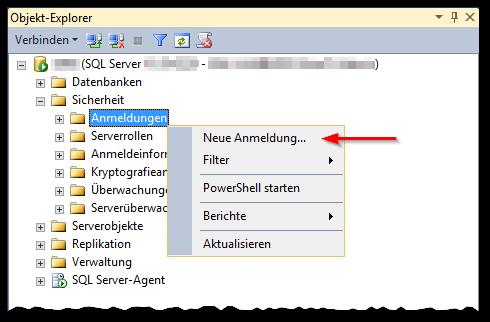 SSMS - SQL Server Management Studio 2012 - Sicherheit - Anmeldungen - Neue Anmeldung - Kontextmenü