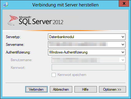 SSMS - SQL Server Management Studio 2012 - Verbindung mit Server herstellen - Servertyp - Datenbankmodul - Windows-Authentifizierung