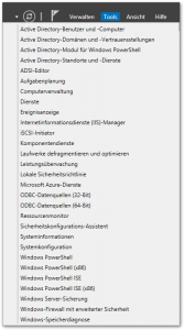 Server 2012 - Server-Manager - Tools - Button - Menü
