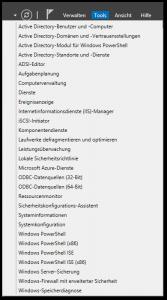 Server 2012 - Server-Manager - Tools - Button - Menü