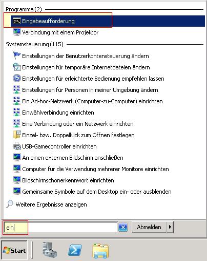 Startmenü - 2008 R2 - Eingabeaufforderung