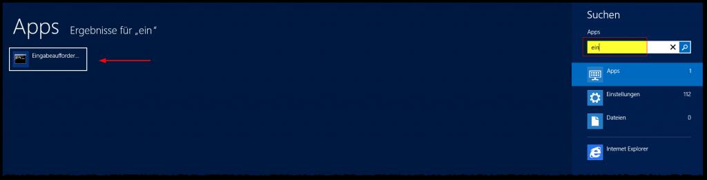 Startmenü - 2012 - Suchen - Eingabeaufforderung