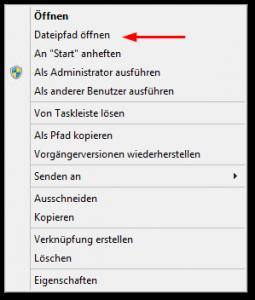 Verknüpfung in Taskleiste - Kontextmenü - Dateipfad öffnen Button