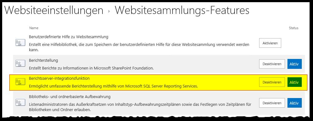 Websitesammlungsverwaltung - Websitesammlungsfeatures - Berichtsserver-Integrationsfunktion - Aktiv - SharePoint 2013