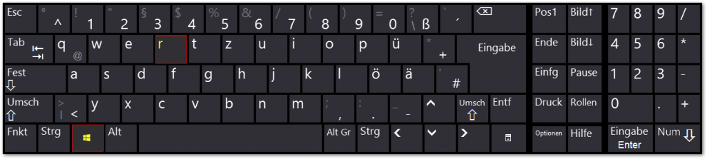 Windows - Bildschirmtastatur - Tastenkombination - Win - r