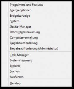 Windows - System-Menü - Win X