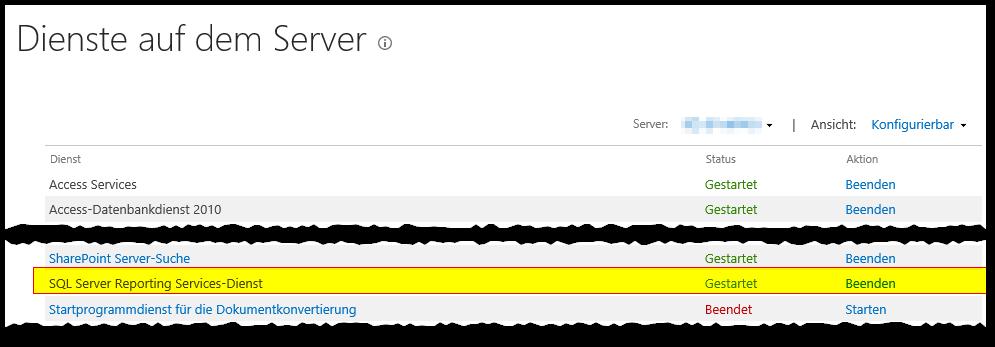 ZA - Dienste auf dem Server verwalten - SQL Server Reporting Services-Dienst - Gestartet - SharePoint Server 2013 - SSRS