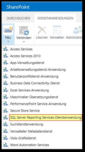 ZA - Zentraladministration - Central Administration - Dienstanwendungen verwalten - Neu - Menü - SQL Server Reporting Services-Dienstanwendung - SharePoint 2013