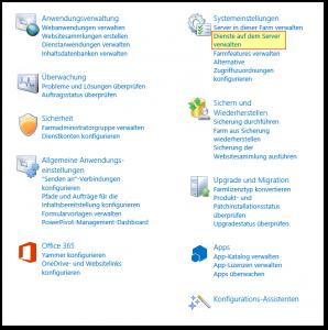 ZA - Zentraladministration - Central Administration - Dienste auf dem Server verwalten - SharePoint 2013