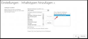 Aus vorhandenen Websiteinhaltstypen hinzufügen - Einstellungen - Inhaltstypen hinzufügen - Hinzufügende Inhaltstypen - Berichts-Generator-Bericht - Berichts-Generator-Modell - SharePoint2013 - SSRS