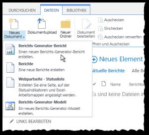 Berichtsbibliothek - Dateien Reiter - Neues Dokument - Berichts-Generator-Bericht - Button - SharePoint2013 - SSRS