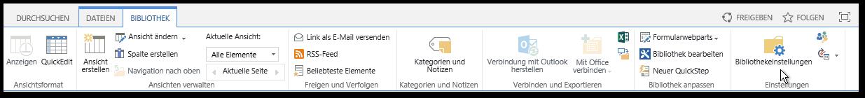 Bibliothek Reiter - Menüband - Bibliothekeinstellungen Button - SharePoint2013