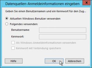 Datenquellen-Anmeldeinformationen eingeben - Aktuellen Windows-Benutzer verwenden - SSRS