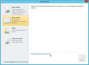 Report Builder - Erste Schritte - Neues Dataset Reiter - Datenverbindung - Andere Datenquellen durchsuchen - SharePoint 2013 - SSRS