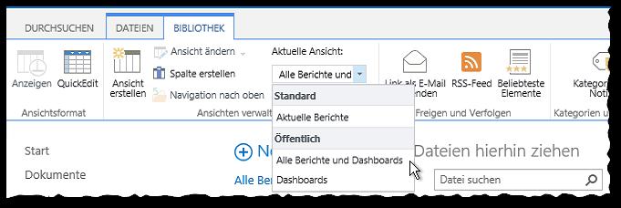 Reports werden in der SharePoint Berichtsbibliothek nicht angezeigt - SQL Server Reporting Services - SSRS - Berichtsbibliothek - Ansicht - Alle Berichte und Dashboards- Menüband - Button - SharePoint 2013