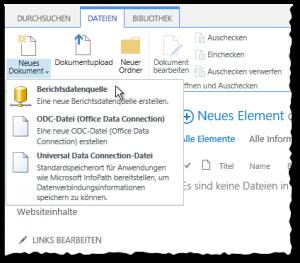 Verbindungsbibliothek - Dateien Reiter - Neues Dokument - Berichtsdatenquelle - Button - SharePoint2013 - SSRS