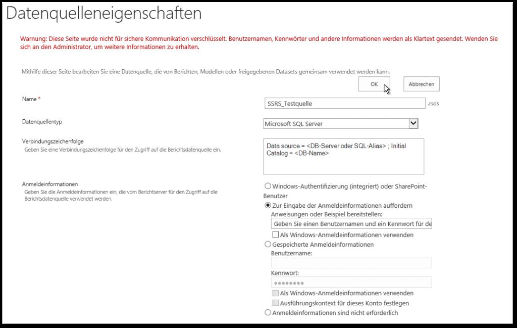 Verbindungsbibliothek - Datenquelleneigenschaften - Datenquellentyp - Microsoft SQL Server - Verbindungszeichenfolge - Data Source - Initial Catalog - SharePoint2013 - SSRS