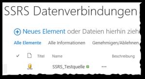 Verbindungsbibliothek - Neue Berichtsdatenquelle - SharePoint2013 - SSRS