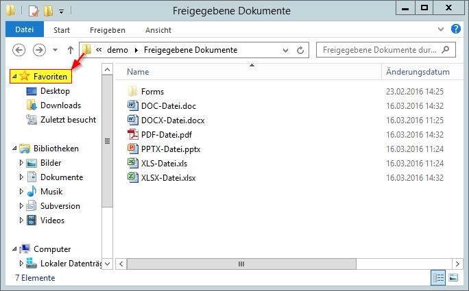Demo - Dokumente - Bibliothek - Freigegebene Dokumente - Windows-Explorer - Favoriten-Verknüpfung - Link - SharePoint 2013