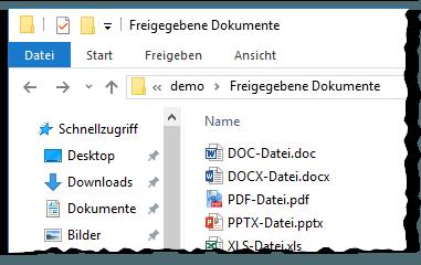 Demo - Dokumente - Bibliothek - Freigegebene Dokumente - Windows-Explorer - Schnellzugriff - SharePoint 2013