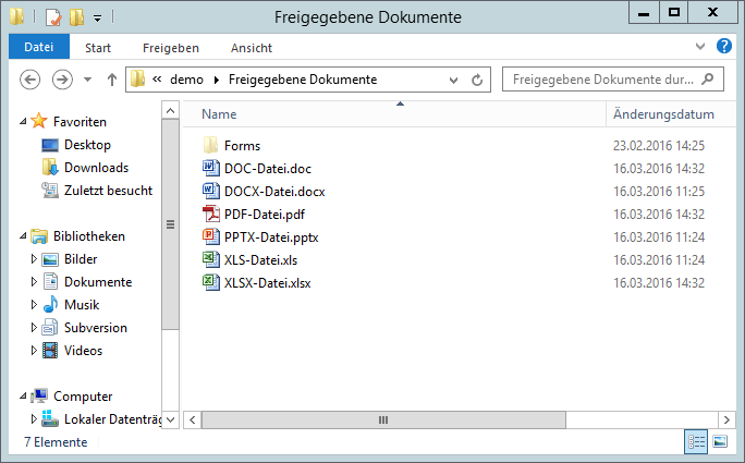 SharePoint Dokumentenbibliothek mit Windows Explorer öffnen - Demo - Dokumente - Bibliothek - Freigegebene Dokumente - Windows-Explorer - SharePoint 2013