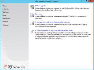 SQL Server 2012 - Installationscenter - Wartung - Reparieren - Button - Starten Sie einen Assistenten, um eine beschädigte SQL Server 2012-Installation zu reparieren