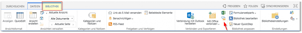SharePoint Dokumentenbibliothek mit Windows Explorer öffnen - SharePoint Bibliothek - Reiter BIBLIOTHEK - Menü kurz - Mit Explorer öffnen Button - SharePoint 2013
