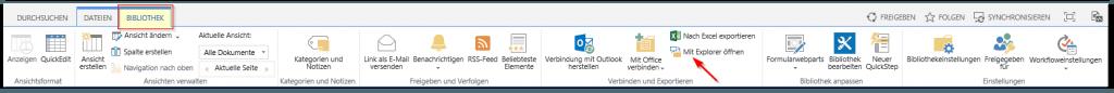SharePoint Dokumentenbibliothek mit Windows Explorer öffnen -SharePoint Bibliothek - Reiter BIBLIOTHEK - Menü lang - Mit Explorer öffnen Button - SharePoint 2013