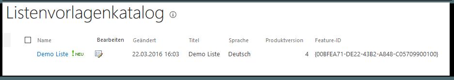 Kopie einer SharePoint-Liste erstellen - Websiteeinstellungen - Web-Designer-Kataloge - Listenvorlagen - Listenvorlagenkatalog - Demo Liste - Neu - SharePoint 2013