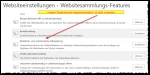 SSRS Feature fehlt - Websitesammlungsverwaltung - Websitesammlungsfeatures - Berichtsserver-Integrationsfunktion - nicht vorhanden - SSRS - SharePoint 2013