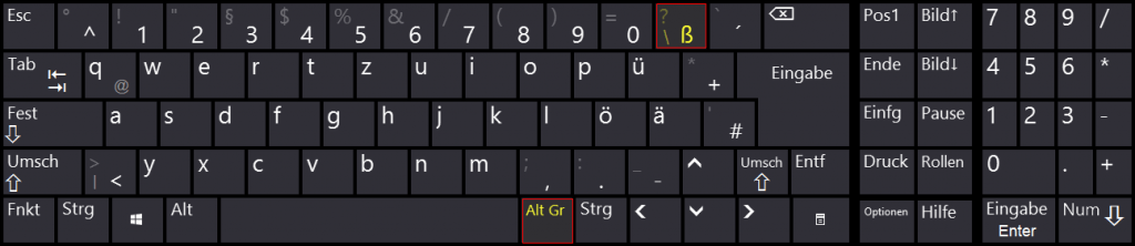 Windows - Bildschirmtastatur - Tastenkombination - AltGr - ß - Backslash
