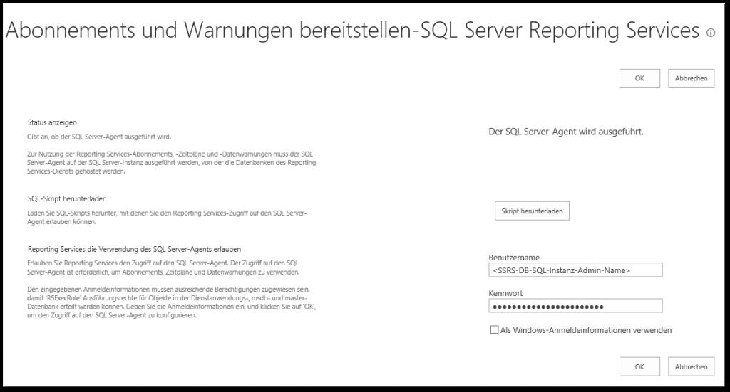 Die EXECUTE-Berechtigung wurde für das xp_sqlagent_notify-Objekt, mssqlsystemresource-Datenbank, sys-Schema, verweigert - ZA - Dienstanwendungen verwalten - Reporting Services-Anwendung verwalten - Abonnements und Warnungen verwalten - bereitstellen - Skript herunterladen - SSRS - SharePoint 2013