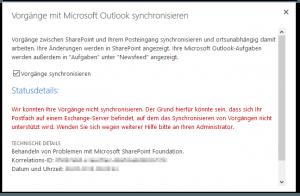Mit Outlook synchronisieren - Vorgänge mit Microsoft Outlook synchronisieren - Wir konnten Ihre Vorgänge nicht synchronisieren - Fehler - We weren't able to sync your tasks - SharePoint 2013