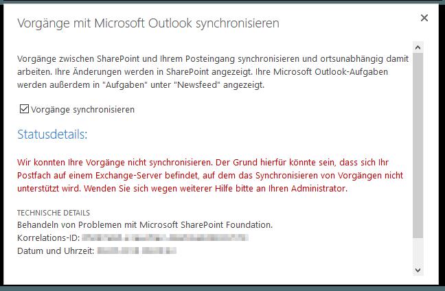 Vorgänge mit Microsoft Outlook synchronisieren – Wir konnten Ihre Vorgänge nicht synchronisieren – Event-ID: 8313
