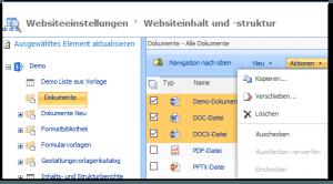 Sitemanager - Websiteeinstellungen - Inhalt und Struktur - Dokumentenbibliothek - Aktionen - Kopieren, Verschieben, Löschen, Auschecken verwerfen, Einchecken - SharePoint 2013