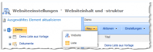 Sitemanager - Websiteeinstellungen - Inhalt und Struktur - Neu - Website, Liste - SharePoint 2013