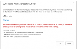 Sync Tasks with Microsoft Outlook - We weren't able to sync your tasks - Error - Wir konnten Ihre Vorgänge nicht synchronisieren - SharePoint 2013