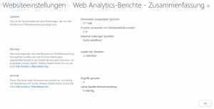 Usage Summary - Web Analytics-Berichte - Zusammenfassung - _layouts-usage.aspx - SharePoint 2013