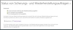 ZA - Check backup and restore job status - Status von Sicherungs- und Wiederherstellungsaufträgen überprüfen - _admin-BackupStatus.aspx - SharePoint 2013