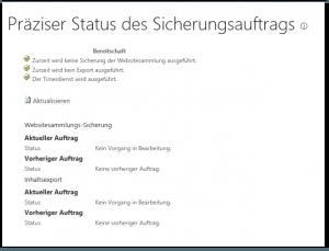 ZA - Check granular backup job status - Präzisen Status des Sicherungsauftrags überprüfen - _admin-SiteBackupOrExportStatus.aspx - SharePoint 2013