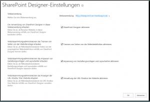 ZA - Configure SharePoint Designer settings - SharePoint Designer-Einstellungen konfigurieren - _admin-SharePointDesignerAdmin.aspx - SharePoint 2013