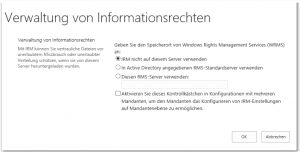 ZA - Configure information rights management - Verwaltung von Informationsrechten konfigurieren - _admin-IrmAdmin.aspx - SharePoint 2013