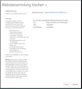 ZA - Delete a site collection - Eine Websitesammlung löschen - _admin-delsite.aspx - SharePoint 2013