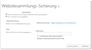 ZA - Perform a site collection backup - Sicherung der Websitesammlung ausführen - _admin-SiteCollectionBackup.aspx - SharePoint 2013