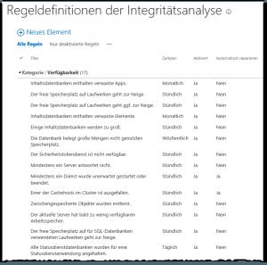ZA - Review rule definitions - Regeldefinitionen überprüfen - Lists-HealthRules - SharePoint 2013