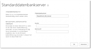ZA - Specify the default database server - Standarddatenbankserver angeben - _admin-defaultcontentdb.aspx - SharePoint 2013