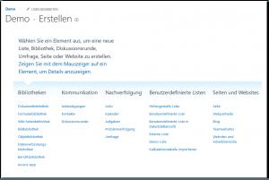 create.aspx - Neu Liste, Bibliothek, Diskussionsrunde, Umfrage, Seite oder Website erstellen - SharePoint 2013