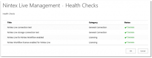 CA - ZA - Nintex Live Management - Health Checks - License Status - SharePoint 2013