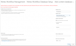 CA - ZA - Nintex Workflow Management - Database Setup - Add Content database - SharePoint 2013